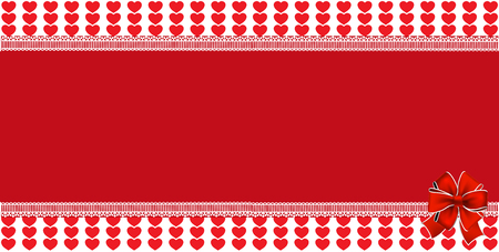 Festive wrapped template with  space for text and ribbon on striped red hearts and background framed with lace. Abstract design element . Christmas, new year, valentines   horizontal banner. Stock Photo
