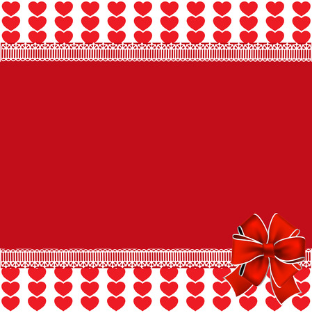 festive template with space for text  on red and white background with red hearts stripes framed with lace and festive bow. Love border, valentines or wedding background, frame, poster, banner