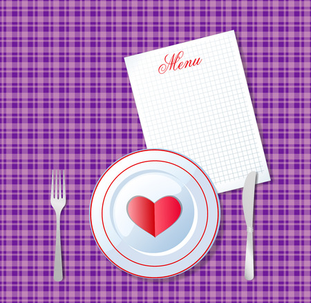 illustration of heart on white plate with fork and knife on violet chequered tablecloth background and sheet with title menu and space for text. Valentine's day love breakfast. Imagens