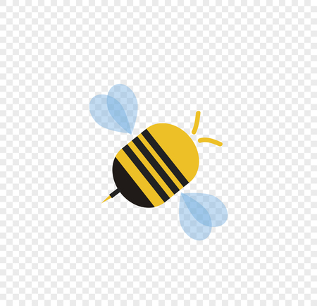Flying cartoon bee isolated on transparent background. Vector illustration clip art, logo, icon for graphic design, greeting card.
