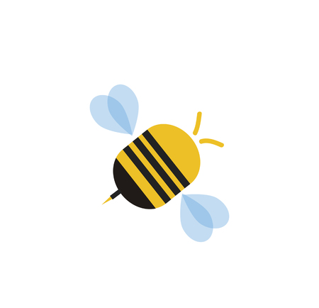 Flying cartoon bee isolated on white background. Vector illustration clip art, logo, icon for graphic design, greeting card. Logo