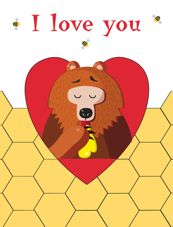 I love you happy valentines day greeting card of cute cartoon bear  illustration character eating honey inside of red heart and bees around on honeycomb background. Valentine festive postcard. Фото со стока