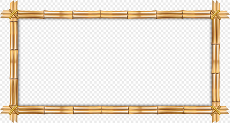 Rectangle brown wooden border frame made of realistic dry bamboo sticks with rope, empty copy space for text or image. Vector clip art, banner, template isolated on transparent background