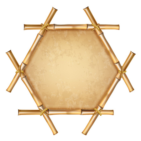 Hexagonal brown wooden border frame made of realistic dry bamboo stems with rope, old paper, canvas, copy space. Vector clip art, banner, template, photo frame isolated on white background