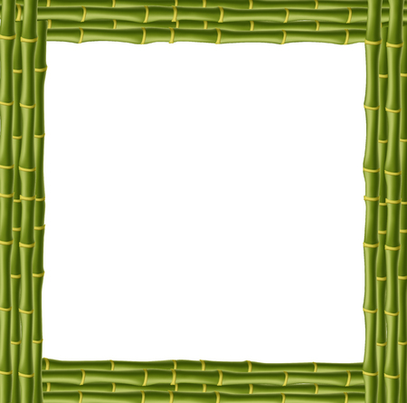 Square green wooden border frame made of realistic bamboo stems with empty copy space for text or image. Vector clip art, banner, template, signboard, billboard isolated on white background