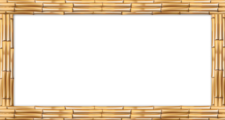 Rectangle brown wooden border frame made of realistic dry bamboo stems with empty copy space for text or image. Vector clip art, banner, template, signboard, billboard isolated on white background Illusztráció