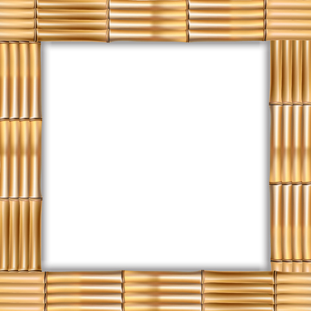 Square brown wooden border frame made of realistic dry bamboo stems with rope and empty copy space for text or image. Vector clip art, banner, template or photo frame isolated on white background