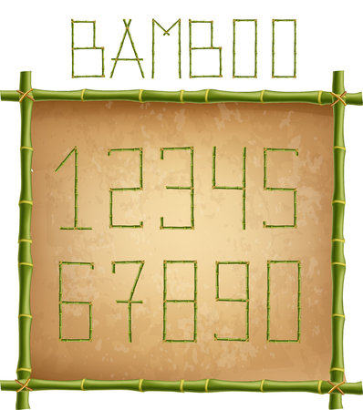 Vector bamboo numerals digits made of realistic green bamboo sticks poles inside of wooden frame with old paper or canvas background. Numbers concept for creating words, text, advertising, message.