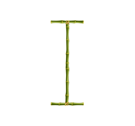 Vector bamboo alphabet. Capital letter I made of realistic green bamboo sticks poles isolated on white background. Abc concept for creating words, text, advertising, message.