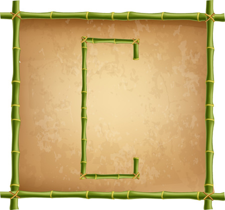 Vector bamboo alphabet. Capital letter C made of realistic green bamboo sticks poles on old paper, papyrus, parchment or canvas background. Abc concept for creating words, text, advertising, message.