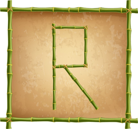 Vector bamboo alphabet. Capital letter R made of realistic green bamboo sticks poles on old paper, papyrus, parchment or canvas background. Abc concept for creating words, text, advertising, message.