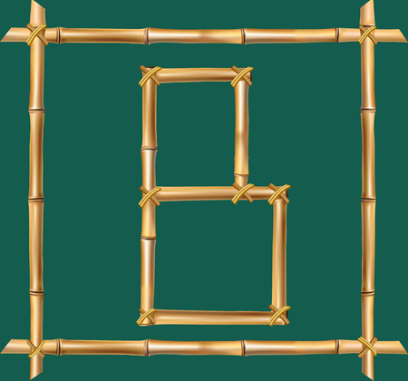 Vector bamboo alphabet. Capital letter B made of realistic brown dry bamboo poles inside of wooden stick frame isolated on green background. Abc concept for creating words, text, advertising, message.