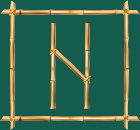 Vector bamboo alphabet. Capital letter N made of realistic brown dry bamboo poles inside of wooden stick frame isolated on green background. Abc concept for creating words, text, advertising, message.