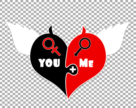 Puzzle Two Pieces Heart With Angel Wings, Devil Horns and Gender Signs Of Venus And Mars. You Plus Me. Isolated on Transparent Background. Valentines Day Vector Illustration. Male And Female Beginning