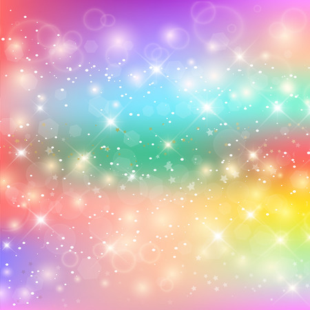 Unicorn Rainbow Background. Holographic Sky In Pastel Color. Bright Mermaid Pattern In Princess Colors. Vector Illustration. Fantasy Gradient Colorful Backdrop With Rainbow Mesh. Vector Illustration
