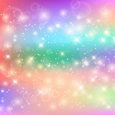 Bright Pattern In Princess Colors. Colorful Rainbow Mesh. Kawaii Baby Unicorn Background with Stars. Fantasy Gradient Colorful Rainbow Backdrop. Holographic Magic Square Banner. Vector Illustration.