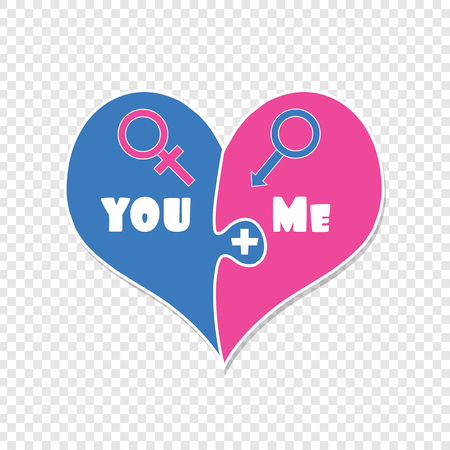 You Plus Me. Love. Relations. Puzzle Two Pieces Heart in Blue and Pink Color Isolated on Transparent Background. Gender Signs of Venus and Mars. Cute Cartoon Valentines Day Clip art. Vector Illustration.