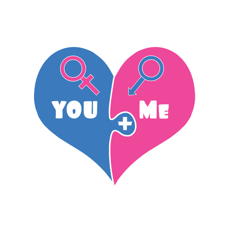 Puzzle Two Pieces Heart in Blue and Pink Color Isolated on White Background. Gender Signs of Venus and Mars. You Plus Me. Love. Relations. Cute Cartoon Valentines Day Clip art. Vector Illustration.