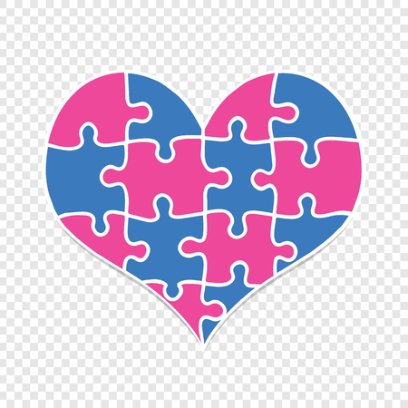 Heart Mde of Blue and Pink Puzzle Pieces Isolated on Transparent Background. Love, Marriage, Charity. Flat Design. Jigsaw With All Pieces Put Together Form Big Multicolored Heart of Love. Vector Illus 일러스트