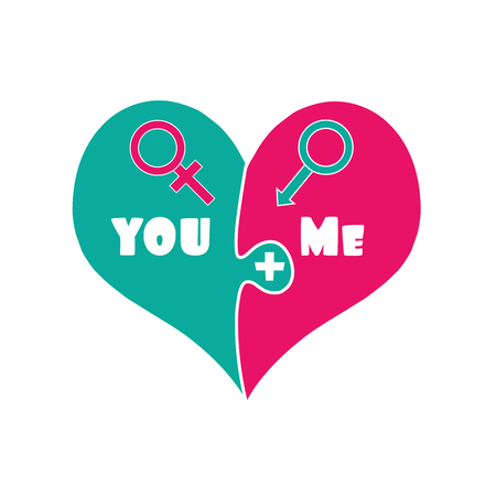 You Plus Me. Love. Puzzle Two Pieces Heart in Green and Pink Color Isolated on White Background. Gender Signs of Venus and Mars. Relations. Cute Cartoon Valentines Day Clip art. Vector Illustration.