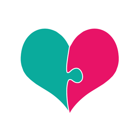 Pink And Green Heart Assembled Of Two Puzzle Pieces Isolated on White Background. Sex Symbol. Genders Interaction Between Man and Woman. Cartoon Icon, Valentines Day. Heterosexual Couple Love. Vector
