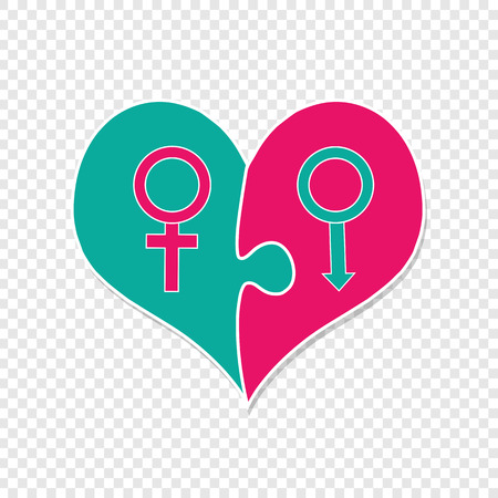 Pink And Green Heart Assembled Of Two Puzzle Pieces With Man and Woman Mars and Venus Sign. Sex Symbols. Male and Female Genders Icon, Valentines Day Clip Art. Heterosexual Couple In Love. Vector Ilustrace