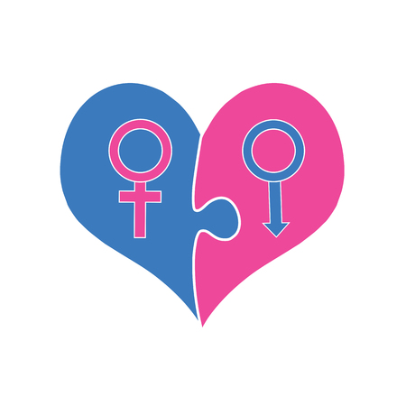 Gender Interaction of Men and Women. Signs of Venus And Mars Inside of Puzzle Heart. Symbols of Male And Female Beginning. Love, Relationship and Marriage, Family. Flat Illustration, Isolated. Vector.