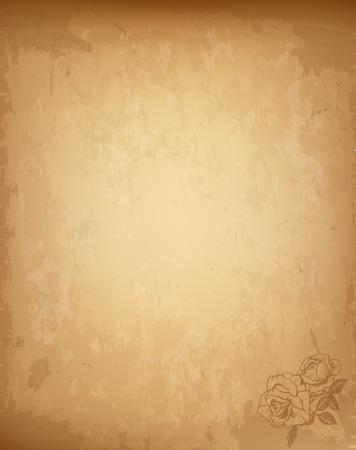 Old Grungy hochdetaillierte Vintage Papier leer mit Rosen-Blumen-Muster in der Ecke. Abgenutzte strukturierte Vorlage für Post, gealterter Brief, Pergament, Papyrus mit Textfreiraum. Realistische Vektor-Illustration.