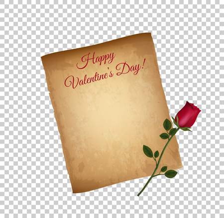 Old Grungy Parchment Paper and Red Elegant Rose on Long Stem Isolated on Transparent Background. Happy Valentines Day Greeting Card. Worn Papyrus, Copy Space. Vintage Love Letter. Vector Illustration Ilustração