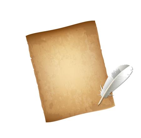 Old Vintage papier usé vierge et stylo plume blanc isolé sur fond blanc. Lettre texturée âgée. Plume et Papyrus. Illustration vectorielle très détaillée, bannière avec espace de copie, clipart.