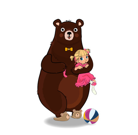 Cute Teddy Bear Wearing Neck Tie and Slippers Hugging and Holding in Paws Little Kawaii Barefoot Baby Girl in Pink Princess Dress Isolated on White Background. Vector Illustration. Cartoon Characters.