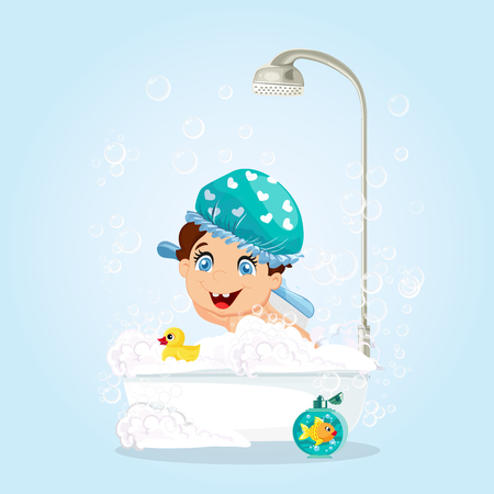 Cute Little Smiling Boy with Blue Eyes Dressed in Blue Hat Washing in Bathtub with Foam, Bubbles and Shower, Duck Toy and Gold Fish in Bathroom Isolated. Cartoon Character Vector Illustration Clip Art