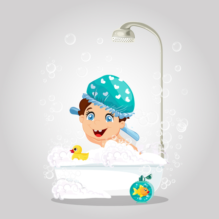 Kawaii Little Smiling Boy with Blue Eyes Wearing Blue Washing Hat Playing in Bathtub with Duck Toy and Gold Fish. Foam, Bubbles in Bathroom Isolated. Cartoon Character Vector Illustration, Clip Art
