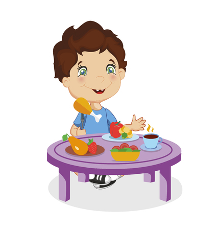 Funny Smiling Cartoon Boy with Brown Hair and Blue Eyes Eating Chiken Sitting at Table with Different Food as Vegetable, Fruit Isolated on White Background. Colorful Character Illustration. Standard-Bild - 116817586