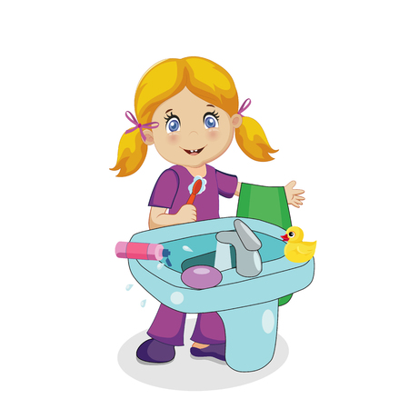 Cute Smiling Baby Girl Character with Blonde Hair Brushing Teeth at Sink in Bathroom Isolated on White Background. Toothbrush and Towel in Hand. Children Hygiene. Cartoon Illustration, Clip Art