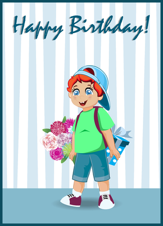 Happy Birthday Greeting Card of Cute Little Red Head Boy with Bunch of Flowers and Gift Box Standing in Room with Striped Wallpaper. Kawaii Baby Character, Festive Postcard. Vector Illustration.