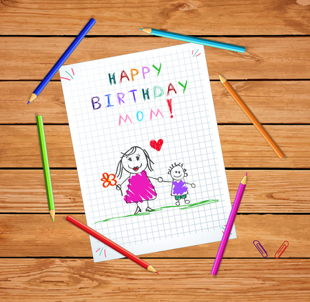 Happy Birthday Mom. Children Colorful Hand Drawn Illustration of Mother and Son Together on Squared Notebook Sheet on Wooden Table With Colored Pencils Around. Kids Greeting Card, Postcard. Stok Fotoğraf