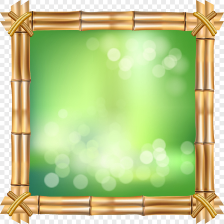 Vector illustration of square brown dry bamboo stems border frame with rope, green bokeh on transparent background. Abstract spa concept tropical banner with empty copy space, place for text.