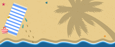 Horizontal Banner with Copy Space. Top View of Sea Coast, Ocean Seaside with Yellow, Golden Sand, Starfish and Palm Tree Shadow. Background for Summer Banner, Card. Cartoon Flat Vector Illustration. Archivio Fotografico - 118156370