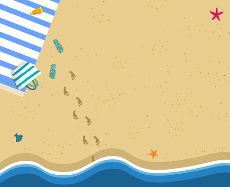 Sea Wave and Sand Beach Square Banner with Copy Space. Top View. Ocean Coast, Footprints. Travel Background. Summer Time Rest Concept. Tourist Seaside Season. Vacation Cartoon Flat Vector Illustration
