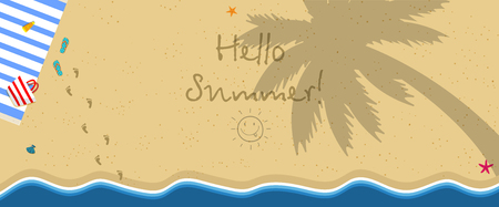 Hello Summer Horizontal Banner. Top View of Exotic Empty Beach with Towel, Bag, Slippers and Foot Prints on Sand. Palm Tree Shadow on Ground Sea Stars. Foamy Waves. Cartoon Flat Vector Illustration. Illustration