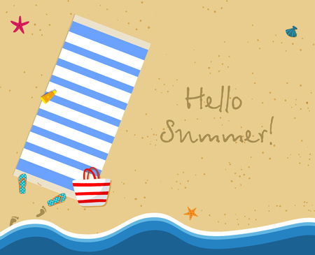 Hello Summer Square Banner. Top View of Exotic Empty Beach with Striped Blue Towel, Bag, Sun Cream, Slippers and Foot Prints on Sand. Sea Stars, Seashells. Foamy Waves Cartoon Flat Vector Illustration