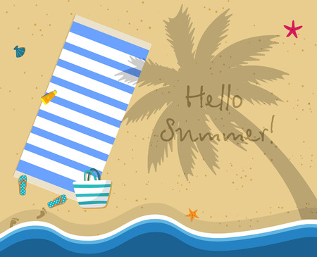 Hello Summer Square Banner. Top View of Sea Beach with Gold Sand, Flip Flops, Striped Bag, Towel, Seashells, Wavy Seaside. Shadow of Palm Tree. Vacation Greeting Card. Cartoon Flat Vector Illustration Illustration