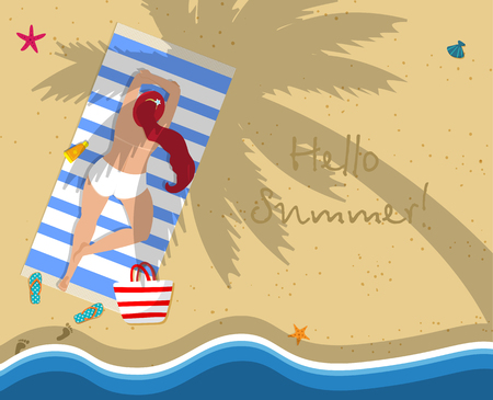 Hello Summer Square Banner. Top View of Young Tanned Woman with Long Ginger Hair in White Swimsuit Lying Topless on Beach Mat. Seaside Accessories on Sand Background. Cartoon Flat Vector Illustration.  イラスト・ベクター素材