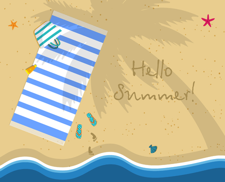 Hello Summer Square Banner. Top View of Sunny Beach From Above. Summertime Vacation Background. Towel Lying under Palm Tree. Footprints on Yellow Sand. Cartoon Flat Vector Illustration, Greeting Card.