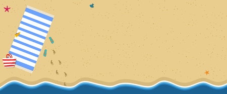 Horizontal Banner with Copy Space. Summer Vacation Background. Travel, Relaxation Tourism, Rest on Sea Side. Towel, Flip Flops, Footprints on Golden Sand. Ocean Coast Cartoon Flat  Illustration Archivio Fotografico - 118209517