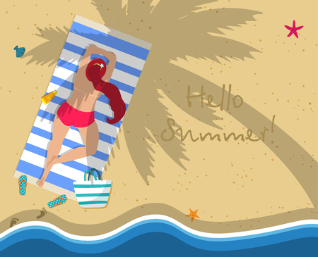 Hello Summer Square Banner. Top View of Young Woman in Red Topless Bikini Lying on Beach Towel Under Palm Tree. Flip Flops, Footprint, Wavy Sea Side. Attractive Girl Cartoon Flat  Illustration