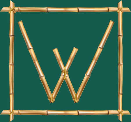 Vector bamboo alphabet. Capital letter W made of realistic brown dry bamboo poles inside of wooden stick frame isolated on green background. Abc concept for creating words, text, advertising, message.