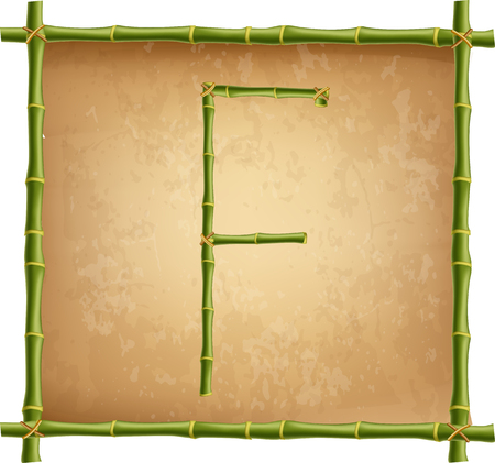 Vector bamboo alphabet. Capital letter F made of realistic green bamboo sticks poles on old paper, papyrus, parchment or canvas background. Abc concept for creating words, text, advertising, message.