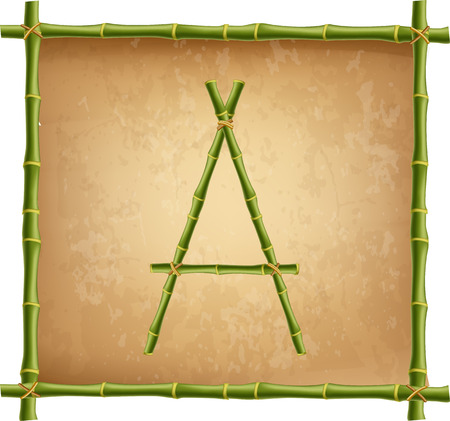 Vector bamboo alphabet. Capital letter A made of realistic green bamboo sticks poles on old paper, papyrus, parchment or canvas background. Abc concept for creating words, text, advertising, message.